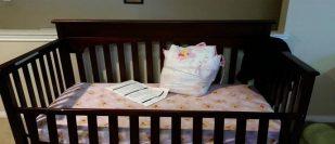 dining table, crib, mattress and sofa set